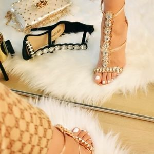 Glam Rosegold Heel with faux diamonds